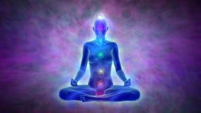 Meditazione di yoga - aura e chakras royalty illustrazione gratis