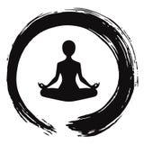 Meditazione di yoga con Zen Circle Logo Template Fotografia Stock Libera da Diritti
