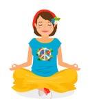 Meditazione di yoga della ragazza di hippy illustrazione di stock