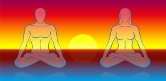 Meditazione doppia di anima illustrazione vettoriale