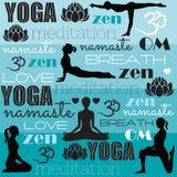 meditazione e vettore di yoga Immagini Stock Libere da Diritti