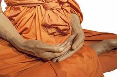 Meditazione isolata del monaco Fotografie Stock Libere da Diritti