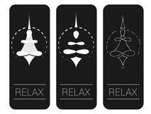 Meditazione o yoga Illustrazione, icona o simbolo di vettore di un meditator nella posizione di loto illustrazione vettoriale