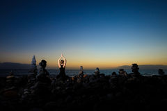Meditazione orientale di yoga su Tenerife Immagine Stock