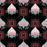 Meditazione senza cuciture indiana di yoga di stile del tatuaggio del hennè di mehndi del modello del fiore di loto o fondo elem royalty illustrazione gratis