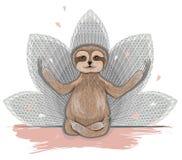 Meditazione sveglia di bradipo illustrazione vettoriale