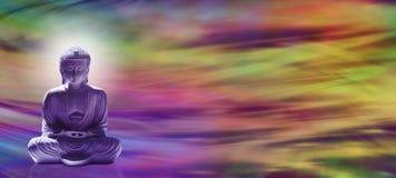 Meditera Buddhawebsitetitelraden Arkivbild
