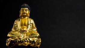Meditera den guld- Buddhastatyn på svart bakgrund arkivbilder