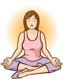 Meditera för kvinna (Aura Background) Fotografering för Bildbyråer