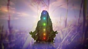 Meditera för kvinna och kulöra chakras stock video