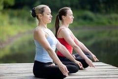 Meditera för yogikvinnlig arkivfoton