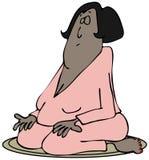Meditera kvinnan royaltyfri illustrationer
