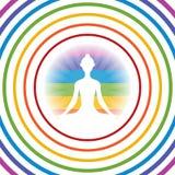 Meditera yogaflickakonturn, i att skina den färgrika cirkeln med concetric cirklar stock illustrationer