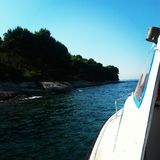 Mediteran coast from boat. Mediteran island photo from coast sea royalty free stock photography
