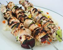 Mediteranean chicken skewers. Chicken skewers with a Mediteranean marinade Royalty Free Stock Photos