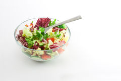 Mediteranean Salad. A bowl of Mediterranean salad isolated on white background Royalty Free Stock Images