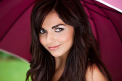 Mediteranean Woman On A Rainy Day Stock Photography