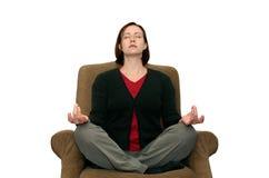 Mediterende Vrouw stock fotografie