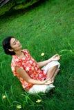 Mediterende vrouw Royalty-vrije Stock Foto