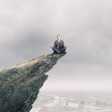 Mediterende zakenman Stock Foto's