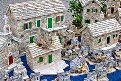 Mediterraan het dorpsmodel van de stijlsteen Stock Foto's
