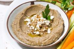 Mediterraan voorgerecht - hummus en verse groenten, hoogste mening stock afbeeldingen