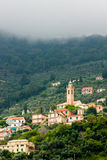 Mediterran church on the hill. Trip to San Fruttuoso royalty free stock photography
