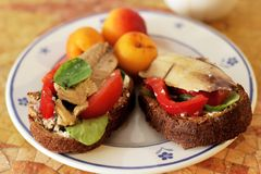 Mediterrane dieetsandwiches in een plaat royalty-vrije stock fotografie