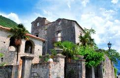 Mediterrane gebouwen en palmen Stock Foto