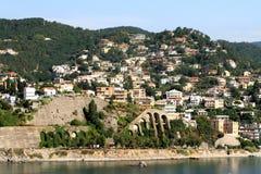 Mediterrane kust albissola-Jachthaven, Savona, Italië stock afbeelding