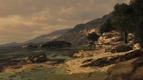 Mediterrane Kust met Roeiboot Royalty-vrije Stock Afbeeldingen