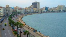 Mediterrane kust van Alexandrië, Egypte stock footage