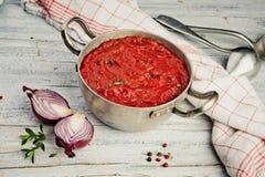Mediterrane Tomatensaus royalty-vrije stock foto