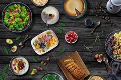 Mediterrane Voedsellijst Gezond maaltijdconcept royalty-vrije stock afbeelding