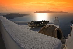 Mediterranean. View (Santorini island, Greece Royalty Free Stock Image