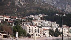 Mediterranean Adriatic sea landscape near Sveti Stefan. Montenegro, Europe stock video footage
