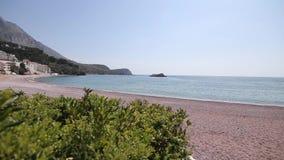 Mediterranean Adriatic sea landscape near Sveti Stefan. Montenegro, Europe stock video
