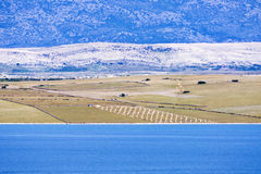 Mediterranean agriculture field by the sea on the island Royalty Free Stock Photography