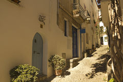 Mediterranean alley, Costa Brava, Spain Royalty Free Stock Photos
