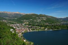 Mediterranean alpine foreland: town at the Lago Di Lugano Royalty Free Stock Photos