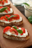 Mediterranean appetizer bruschetta with cheese, tomato and basil on cutting board. Stock Image