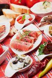 Mediterranean appetizer food. Tapas or antipasto, selective focus shot Royalty Free Stock Images