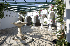 Mediterranean Architecture. Patio blue and white with fountain Royalty Free Stock Photos