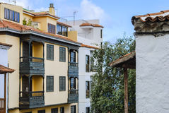 Mediterranean architecture. Mediterranean buildings with wooden balconies Stock Images