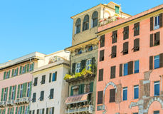 Mediterranean architecture in the port of Genoa, Italy Royalty Free Stock Images