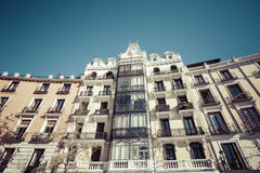 Mediterranean architecture in Spain. Old apartment building in M Stock Photos