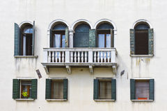 Mediterranean architecture of Venetian balconies Stock Photography