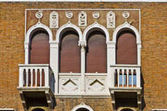 Mediterranean architecture of Venetian balconies Royalty Free Stock Photo