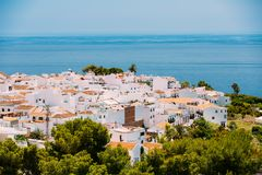 Mediterranean architecture - white color houses in Nerja, Spain Stock Photo