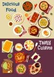 Mediterranean and asian cuisine icon set design Stock Photos